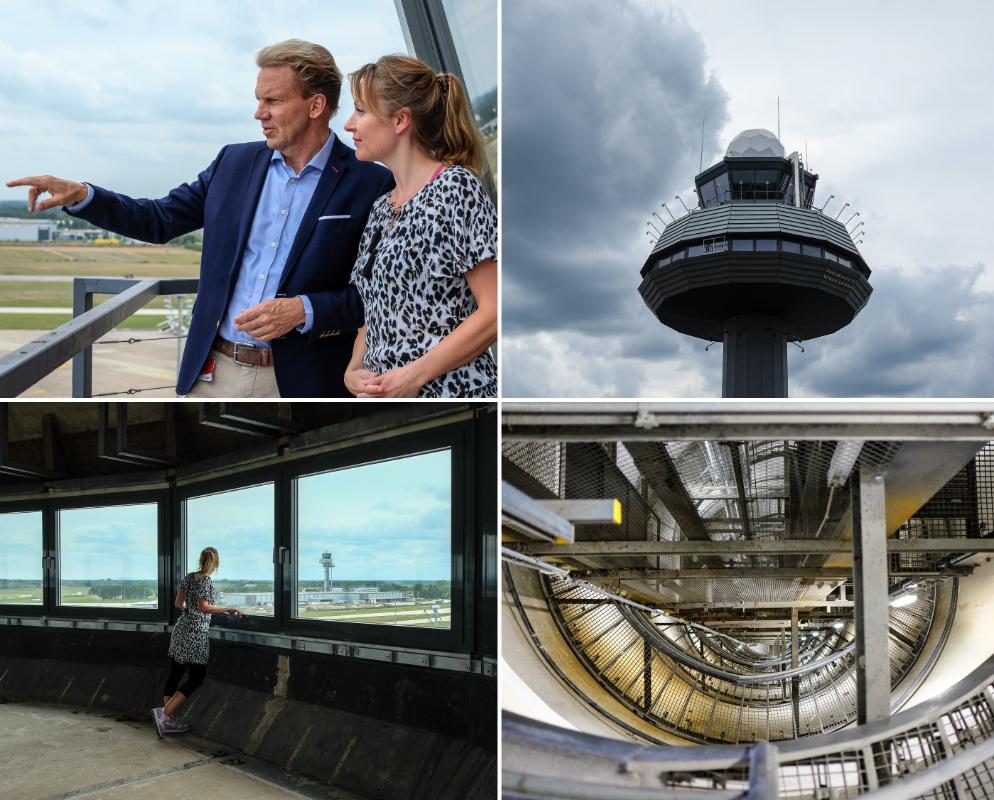 Dr. Raoul Hille und WELCOMESPY Anna Stella Bonin auf dem Tower am Flughafen Hannover