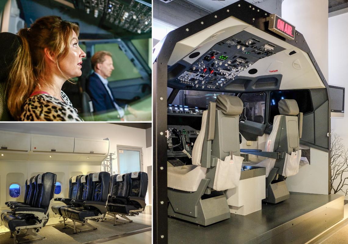 Dr. Raoul Hille vom Flughafen Hannover-Langenhagen mit WELCOMESPY Anna Stella Bonin im Flugsimulator